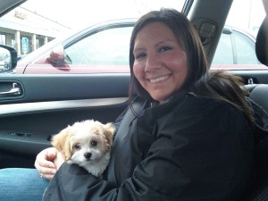 Julie with Hope on the way home from adopting her.