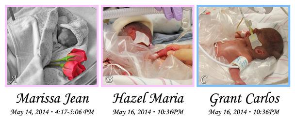 Marissa Jean, Hazel Maria, and Grant Carlos Anderson.