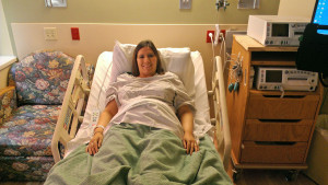 Julie shortly after checking in for monitored bed rest