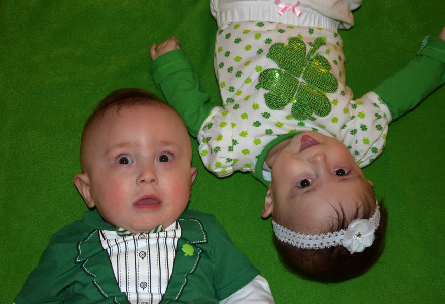 Grant and Hazel celebrate their first St. Patty's Day