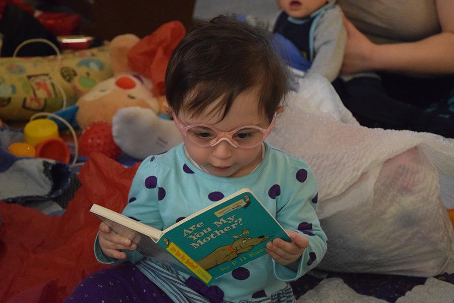 Hazel reading a book