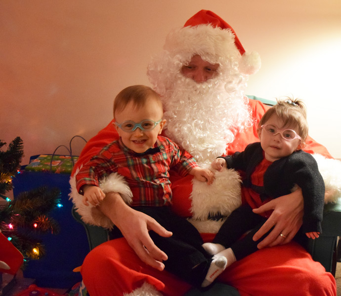Hazel and Grant with Santa (2015)